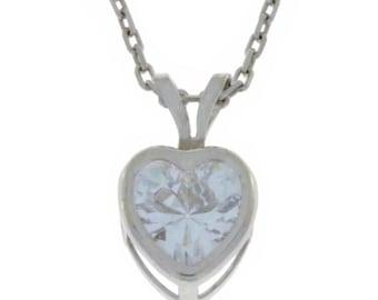 1 Ct Zirconia Heart Bezel Pendant .925 Sterling Silver