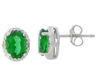14Kt White Gold Emerald & Diamond Oval Stud Earrings
