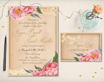 Wedding Invitation, Rustic Romantic Invitation, Floral Lace Invitation, Modern Rustic Peonies Lace, DIY Printable, Budget Invitation (CW14)
