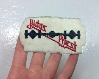 vintage 1970s/80s embroidered Judas Priest razorblade patch