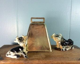 vintage brass cow bell - brass bell - farm decor