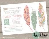 BABY SHOWER TRIBAL Invitation, Pow Wow Invitation, Feather Baby Shower Invitation, Tribal Feather Invitation, Boho Baby Shower Invitation