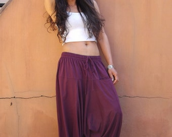 Harem Pants ...Yoga Pants ..Leisure Pants ... Spande Cotton..Color Purple