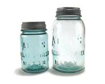 Vintage Atlas Mason Jars * Set of 2 * Glass Lids with Zinc and Porcelain Screw-on Lids