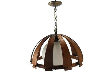 MidCentury Danish Modern Teak Pendant Ceiling Light *  Atlas Lighting Chandelier * Opaque Glass Globe