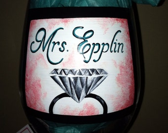 Bride wine glass
