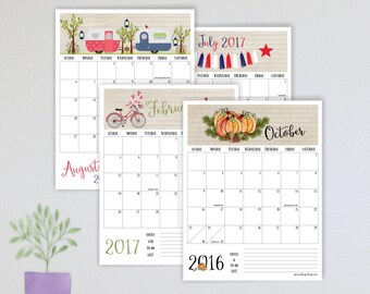 2017 Printable Monthly Planner Calendar, Monthly Calendar, January 2017 to  December 2017 Printable Calendar, Months of Fun Calendar