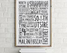 Shipping Forecast Typography Giclee Print