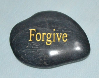 Desk Paperweight – 114 - Forgive, Stone Paperweight, Paperweight, Zen Stone, River Stone, Beach Stone
