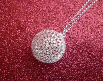 Lace Ball  Necklace - Silver Plated - Take 25% Off - SINply Jewellery
