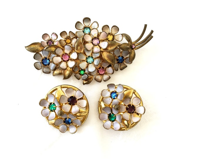 Vintage Czech Brooch Set, Czech Pin with Screw Back Earrings, Rhinestone and Enamel, Czech Glass Jewelry
