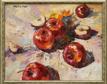 "Red apples Still life oil painting 15.7"" x 19.7"" Framed. Ready to Hang, Fine art by Valiulina"