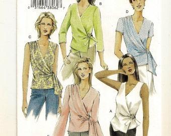 A Sleeveless, Short or Long Sleeve Wrap Top w/Hemline, Sleeve & Drape Variations Pattern for Women: Uncut - Sizes 18-20-22 ~ Vogue 7876