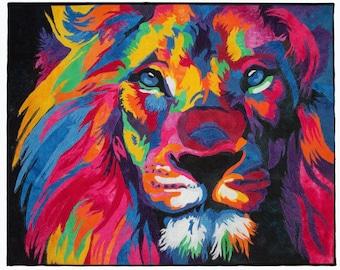 Lion ~ Fiber Wall Art - Fibre Wall Art ~ Textile Art ~ Quilt Art ~ Art Quilt ~ Framed Wall Hanging ~ 24x30