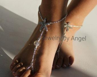 Silver Rhinestone Starfish Bridal Foot Jewelry  Beach Wedding Barefoot Sandals