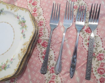 Vintage Mismatched Stainless Flatware Dinner Forks for Weddings, Tea Party,Bridal Luncheons,Showers,Hostess Gift,Bridesmaid Gift - Set of 4
