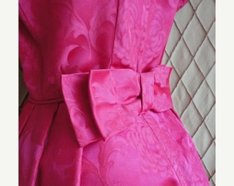 SALE 50s Dress // 50s Party Dress // Vintage 1950s Raspberry Brocade Party Dress Size S