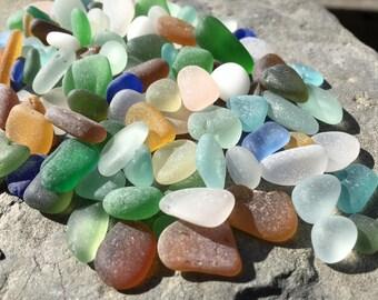 Bulk Sea Beach Glass Genuine Seaglass, Small, Medium, 100 Pieces Authentic Art Jewelry Quality Supplies
