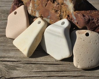 Beach Decor, DIY, Sea pottery, Paintable, Blanks, Ceramic, Earthenware, Vintage, Art Supplies, Drilled, Beach Stones, Large Hole 5mm