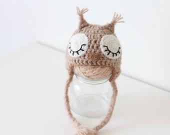 Newborn owl - Owl boys hat - Photo prop hat - Newborn props - Baby boy props - Photo prop owl - Baby boy props - Photo prop owl hat - Brown