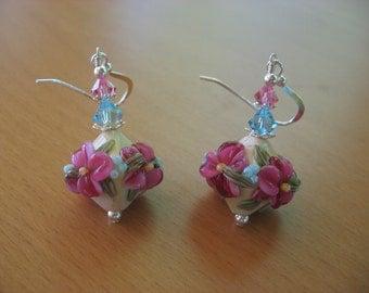 Lampwork Earrings, Flower Earrings, Floral Earrings, Summer Earrings, Pink and Blue Earrings, Handmade Lampwork Beads, Glass Earrings, Cute
