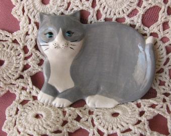 Grey and White Cat Ceramic Teabag Holder, Spoon Rest or Trinket Dish