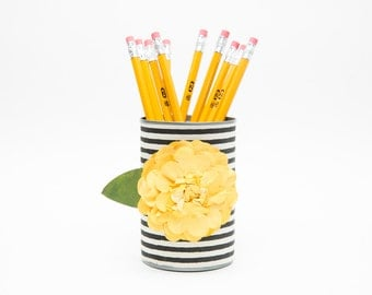 Magnetic Pen // Pencil Holder- Black and White Stripes with Yellow Flower
