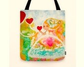 Shopper tote bag canvas art Whimsical Art Bag Magical Ethereal White Swans Colorful Bag Gift for her Heart bag