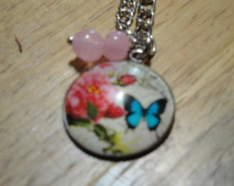 Butterfly and Rose Pendant Necklace