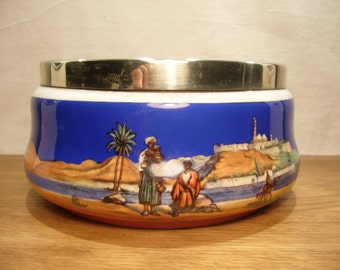 Vintage 1930s bowl with hand painted desert scene and silver plated rim by A & Co
