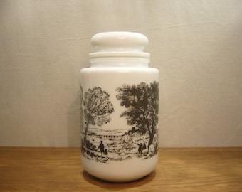 Vintage 1970s white glass storage jar with black landscape design all round