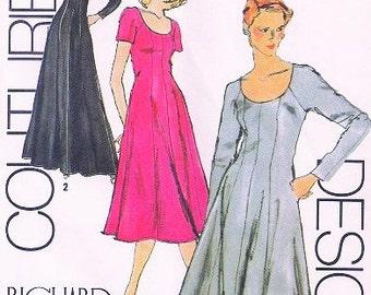 FLATTERING  Vintage Simplicity 9402 Dress Pattern Richard ASSATLY Designer Princess Seam Dress Evening Maxi or Day Length Bust 34 UNCUT