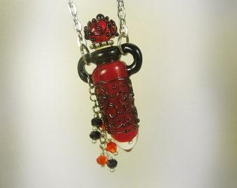 Lampwork perfume bottle, Lampwork vessel, Glass perfume bottle