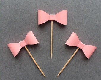 3D Pink Bow Cupcake Topper - Set of 12