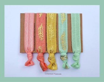 SALE 5pc FEATHER Hair Ties Set Yoga Bands, Coral, Mint, Gold Foil, Hair Tie, Ponytail Accessory, Party Favor, Beach Wedding, Bridesmaid Gift