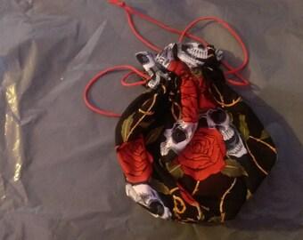 Black & Red Skull Print Wrist Bag / Drawstring Bag