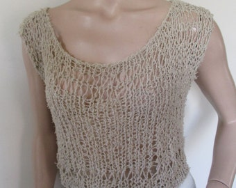 Beige hand knitted blouse