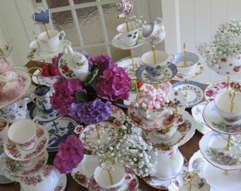 Fairy tale Wedding Cake Stand Centerpiece Pink Pastel Teapot Cup Stack Mad Hatter Unique and Quirky