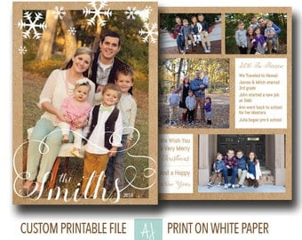 Printable Christmas Card with Photo Collage- Photo Holiday Card- Family Card for Christmas