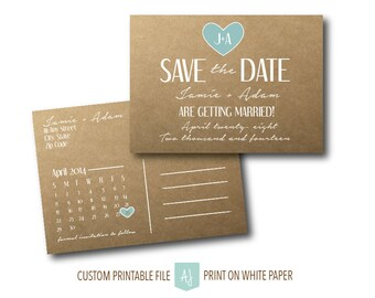 Simple, Postcard Save the Date, Rustic Invite with Calendar- For the DIY Bride- Digital File- Printable Save the Date
