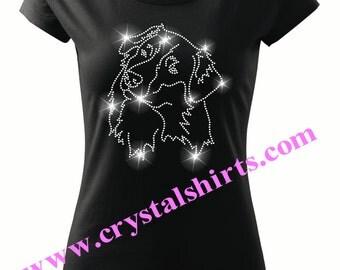 Aussie, Australian Shepherd rhinestone, bling T-shirt