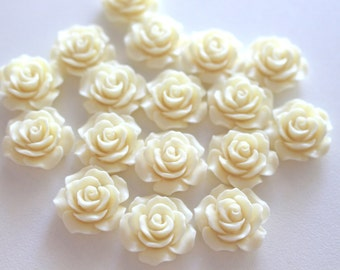 Cream Resin Rose 18mm, DIY, Resin Rosettes, Wholesale Cabochons