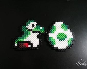 Baby Yoshi and Egg Pixel Art Keychains
