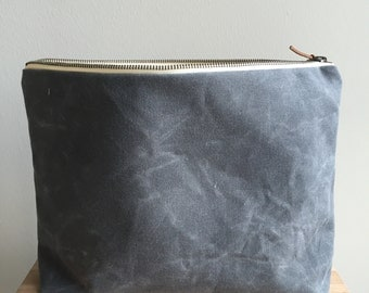 Waxed Canvas Zippered Pouch - Charcoal