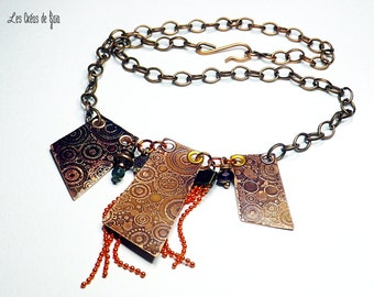 Copper necklace, orange metal, glass beads, enamel and copper chain.
