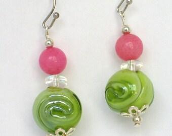 Green Earrings, Pink Earrings, Summer Earrings, Glass Earrings, Easter, Mothers Day, Gift, Earrings, Green, Pink, Green Pink
