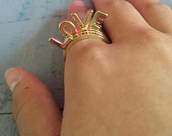 Love Gold Stackable Rings