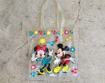 cute disney clear plastic mickey and minnie mouse bag