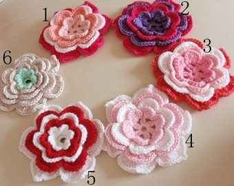 Larger Crochet Flower in 4 inches You Choose Color YH-220-01