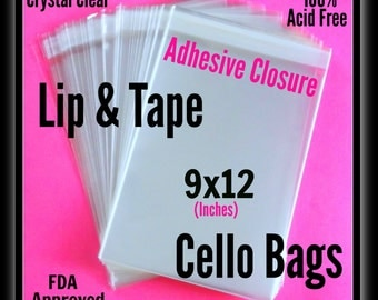 100 ( 9 x 12 ) Lip and Tape Cello Bags .. Adhesive / Self Seal, Cello Bags 9x12, Cello Bag Prints, Cello Bag Art, Large Clear Cello Bags